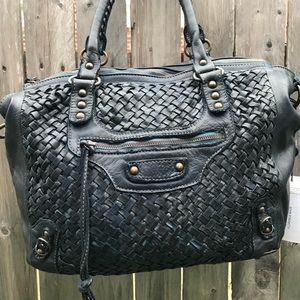 NWT Viola Castellani Blue Woven Leather Bag